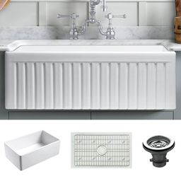 "Dorn 24"" L x 18"" W Farmhouse/Apron Kitchen Sink with Basket Strainer   Wayfair North America"
