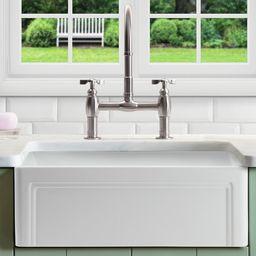 "Retta 29"" L x 18"" W Farmhouse Kitchen Sink With Grid and Strainer   Wayfair North America"