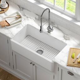 """KFR1-33MWH Turino 33"""" L x 18"""" W Farmhouse/Apron Kitchen Sink with Sink Grid and Drain Assembly   Wayfair North America"""