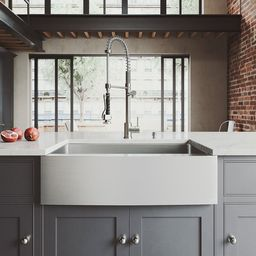"""Bedford 33"""" L x 22"""" W Farmhouse Kitchen Sink with Faucet 