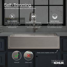 "K-3935-3-NA Vault 29-3/4"" x 24-5/16"" x 9-5/16"" Top-Mount Single-Bowl Stainless Steel Kitchen Sink... | Wayfair North America"