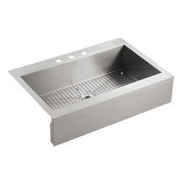"K-3942-3-NA Vault 36"" x 24"" Top-Mount Farmhouse Kitchen Sink | Wayfair North America"