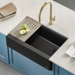 "KGF2-30MBL Bellucci Workstation 30"" L x 21"" W Farmhouse Kitchen Sink | Wayfair North America"