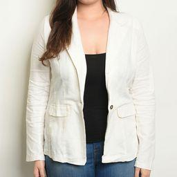 24|7 Frenzy Women's Blazers OFF - Off-White Linen-Blend Blazer - Plus | Zulily