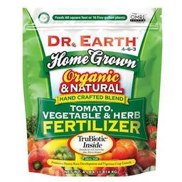 DR. EARTH 4 lbs. 60 sq. ft. Organic Home Grown Tomato Vegetable and Herb Dry Fertilizer-100507069... | The Home Depot