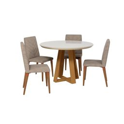 Luxor Rochelle 45.27 in. 5-Piece Off White And Grey Round Dining Table And Utopia Chevron Dining Cha   The Home Depot