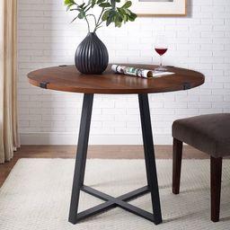 Manor Park Rustic Round Dining Table - Dark Walnut / Black   Walmart (US)