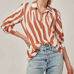 Bloggers Boutique Women's Button Down Shirts ORANGE-STRIPED - Orange Zebra Button-Up - Women | Zulily