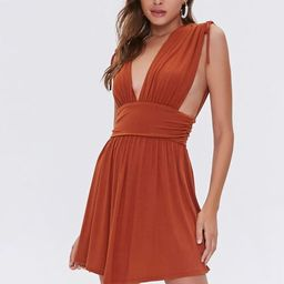 Plunging Shirred Mini Dress | Forever 21 (US)