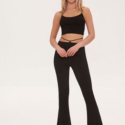 Ribbed Knit Self-Tie Flare Pants   Forever 21 (US)
