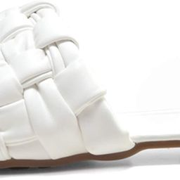 Amazon.com | Women's Braided Flat Sandals Square Open Toe Slide Band Strap Slip On Mules For Casu... | Amazon (US)