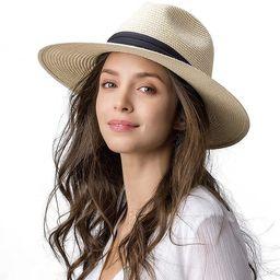 Womens Wide Brim Straw Panama Hat Fedora Summer Beach Sun Hat UPF50 Straw Hat for Women at Amazon... | Amazon (US)