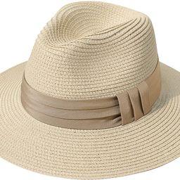 Lanzom Women Wide Brim Straw Panama Roll up Hat Fedora Beach Sun Hat UPF50+ (Z-Navy Ribbon Khaki)... | Amazon (US)