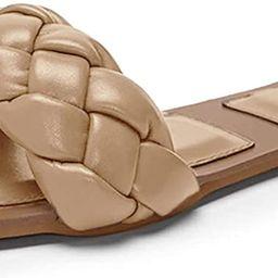 Amazon.com | Trish Lucia Womens Square Open Toe Flat Sandals Slip On Mule Slides Braided Strap Sl... | Amazon (US)