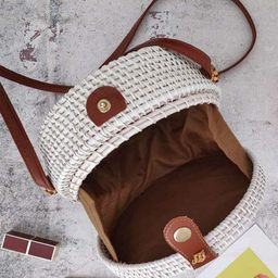 Kbinter Handwoven Round Rattan Straw Bag for Women Shoulder Leather Button Straps Natural Chic Ha... | Amazon (US)