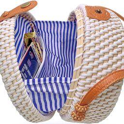 Handmade Straw White Round Rattan Bag Zipper Pouch Adjustable Strap Wicker Purse | Amazon (US)