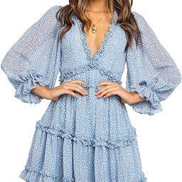 Ailunsnika Womens Summer V Neck Boho Floral Ruffles Casual Mini Dress Backless Swing Skater Dress...   Amazon (CA)
