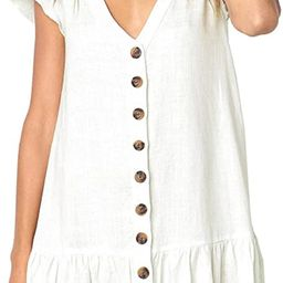 CAIYING Women Summer Stylish Ruffles V Neck Short Sleeve Button Down Loose Dresses   Amazon (CA)