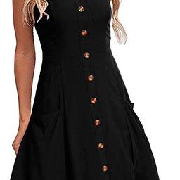 Alice and Elmer Women's Casual Beach Summer Dress Pocket Button Down Spaghetti Strap Black Sundre...   Amazon (CA)