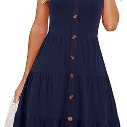 Alice & Elmer Women's Casual Beach Summer Dresses Solid Cotton Tiered Flare V-Neck Spaghetti Stra...   Amazon (CA)
