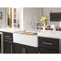 "SWUF3320WH 33"" L x 20"" W Double Basin Farmhouse/Apron Kitchen Sink | Wayfair North America"