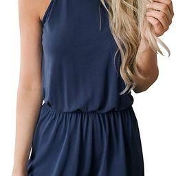 MEROKEETY Women's Summer Halter Neck Shorts Elastic Waist Solid Color Jumpsuit Rompers | Amazon (US)