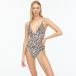 Long-torso plunge V-neck one-piece swimsuit in leopard | J.Crew US