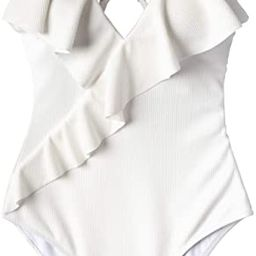 CUPSHE Women's One Piece Swimsuit Ruffle Wrap Textured Beach Swimwear Bathing Suits | Amazon (US)