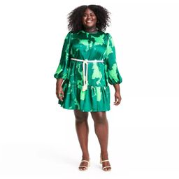 Long Sleeve Rope Belt Tiered Dress - ALEXIS for Target Green   Target