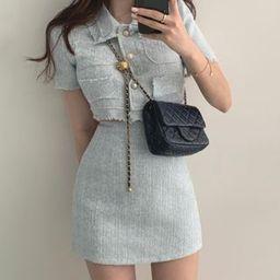 Timfield Tweed Short-Sleeve Cropped Jacket / Mini Pencil Skirt | YesStyle | YesStyle Global
