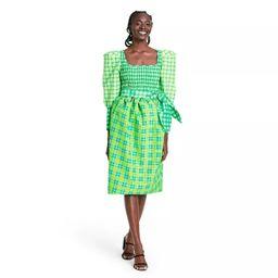 Plaid Long Sleeve Smocked Tie Waist Dress - Christopher John Rogers for Target Green | Target