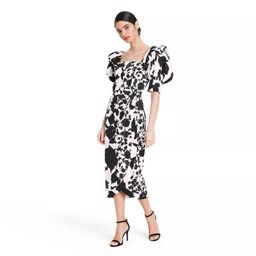 Floral Puff Sleeve Faux Wrap Dress - Christopher John Rogers for Target Black/White | Target