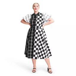 Mixed Checkerboard Puff Sleeve Shirtdress - Christopher John Rogers for Target Black/White | Target
