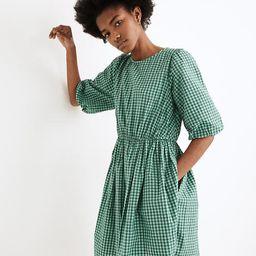 Gingham Crewneck Bubble-Sleeve Mini Dress   Madewell
