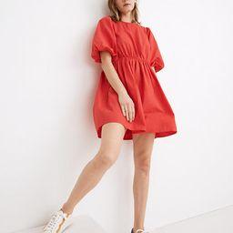 Poplin Crewneck Bubble-Sleeve Mini Dress   Madewell