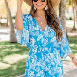 Back In My Heart Blue Printed Romper   The Pink Lily Boutique