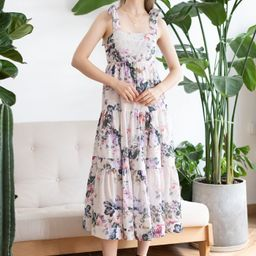 Watercolor Flowers Printed Tie-Strap Maxi Dress   Chicwish