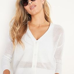 Textured Open-Knit Button-Front Cardigan for Women   Old Navy (US)