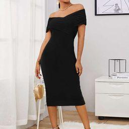 SHEIN Off Shoulder Cross Wrap Ruched Foldover Dress   SHEIN
