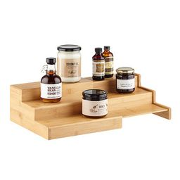 Large 3-Tier Bamboo Expanding Shelf | The Container Store