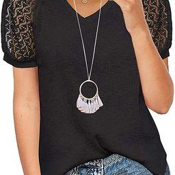 MIHOLL Women's Lace Short Sleeve V Neck Shirts Loose Casual Tops Tee Shirt | Amazon (US)