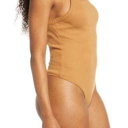 Picot Trim Cotton Blend Rib Bodysuit | Nordstrom