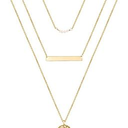 Turandoss Dainty Layered Choker Necklace, Handmade 14K Gold Plated Y Pendant Necklace Multilayer ...   Amazon (US)