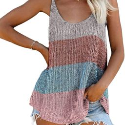 Biucly Women's Scoop Neck Tank Tops Knit Shirts Casual Loose Sleeveless Camis Sweater Blouses(S-2...   Amazon (US)