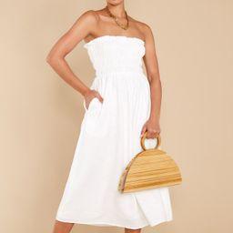 Dancing By Moonlight White Midi Dress   Red Dress