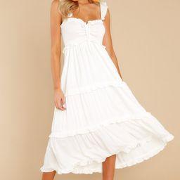 Not A Chance White Maxi Dress   Red Dress