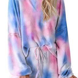 Asvivid Womens Tie Dye Printed Ruffle Short Lounge Set Long Sleeve Tops and Shorts 2 Piece Pajama...   Amazon (US)