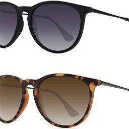 WOWSUN Polarized Sunglasses for Women Vintage Retro Round Mirrored Lens | Amazon (US)