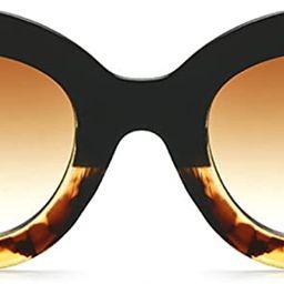 Butterfly Sunglasses Semi Cat Eye Glasses Plastic Frame Clear Gradient Lenses | Amazon (US)