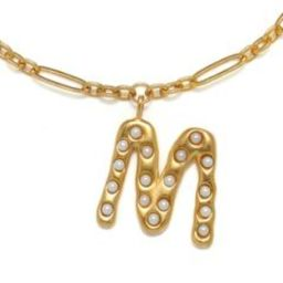 """""""M"""" Pearl Initial Talisman Necklace 